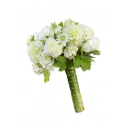 (s) Букет Микс-Дизайн Бело-зеленый в листах гиацинта с плетением
