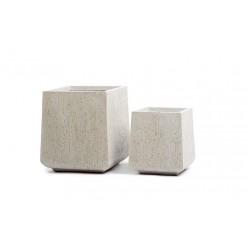 Кашпо Ergo Cork кубическая трапеция белый песок