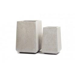 Кашпо Ergo Cork высокая кубическая трапеция белый песок