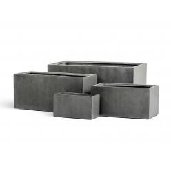 Кашпо Effectory - серия Beton низкий прямоугольник - тёмно-серый бетон