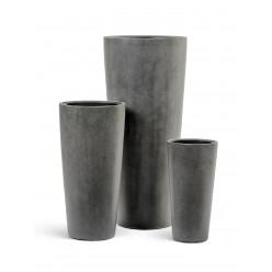 Кашпо Effectory - серия Beton высокий конус - тёмно-серый бетон